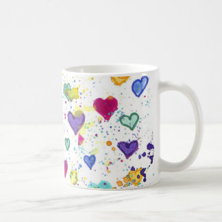 Hearts with Colorful Paint Splatter Coffee Mug