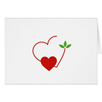 Hearts with leaves gathered in one place card
