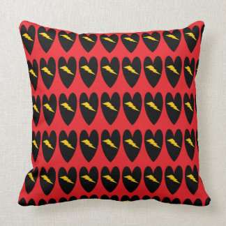 Hearts with Lightning Bolt Throw Pillow