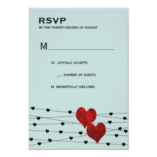 "Heartstring rsvp 3.5"" x 5"" invitation card"