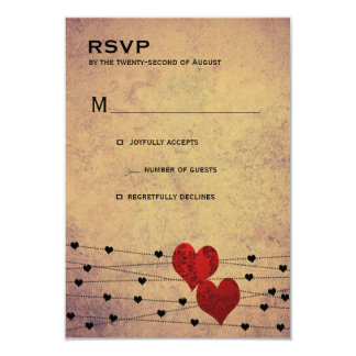 "Heartstring rsvp 3.5"" x 5"" invitation card"