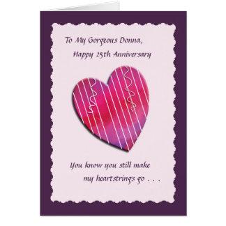 Heartstrings 25th Wedding Anniversary Card