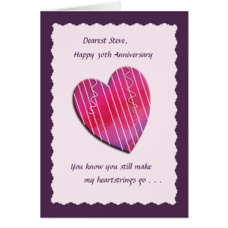 Heartstrings 30th Wedding Anniversary Card