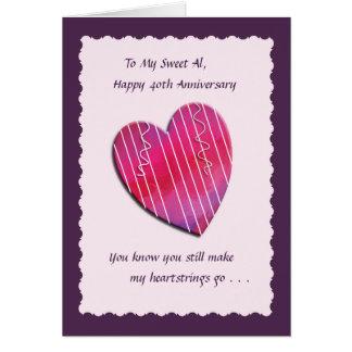 Heartstrings 40th Wedding Anniversary Card