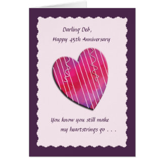 Heartstrings 45th Wedding Anniversary Card