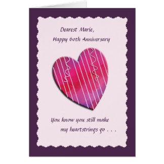 Heartstrings 60th Wedding Anniversary Card