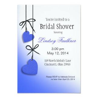 "Heartstrings Bridal Shower cobalt 5"" X 7"" Invitation Card"