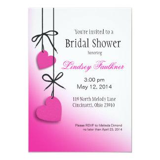 "Heartstrings Bridal Shower fuschia 5"" X 7"" Invitation Card"