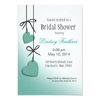 "Heartstrings Bridal Shower mint 5"" X 7"" Invitation Card"