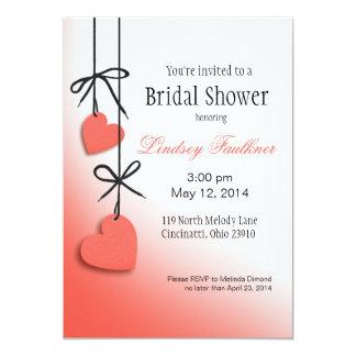 """Heartstrings Bridal Shower peach 5"""" X 7"""" Invitation Card"""