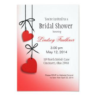 "Heartstrings Bridal Shower red 5"" X 7"" Invitation Card"