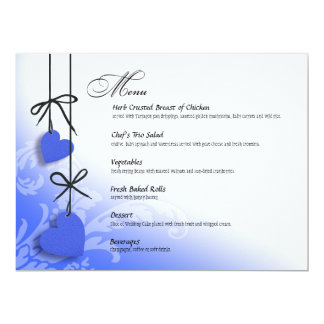 "Heartstrings Dinner Menu cobalt 6.5"" X 8.75"" Invitation Card"
