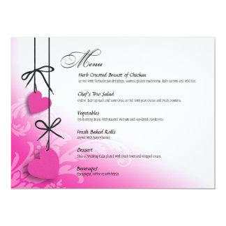 "Heartstrings Dinner Menu fuschia 6.5"" X 8.75"" Invitation Card"