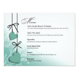 "Heartstrings Dinner Menu mint 6.5"" X 8.75"" Invitation Card"
