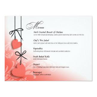 "Heartstrings Dinner Menu peach 6.5"" X 8.75"" Invitation Card"