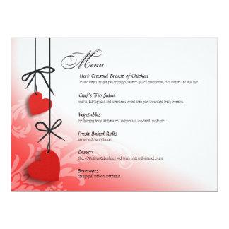 """Heartstrings Dinner Menu red 6.5"""" X 8.75"""" Invitation Card"""