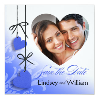 """Heartstrings Photo Save the Date cobalt 5.25"""" Square Invitation Card"""