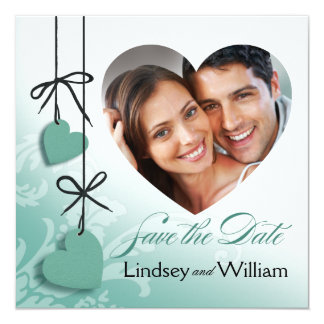 """Heartstrings Photo Save the Date mint 5.25"""" Square Invitation Card"""