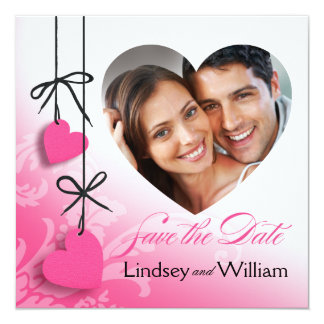 """Heartstrings Photo Save the Date pink 5.25"""" Square Invitation Card"""