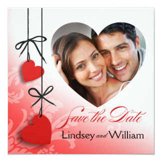 """Heartstrings Photo Save the Date red 5.25"""" Square Invitation Card"""