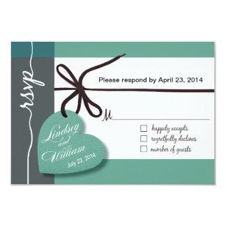 "Heartstrings RSVP 1 Response mint 3.5"" X 5"" Invitation Card"