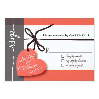 "Heartstrings RSVP 1 Response peach 3.5"" X 5"" Invitation Card"