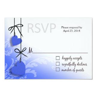 "Heartstrings RSVP 2 Response cobalt 3.5"" X 5"" Invitation Card"
