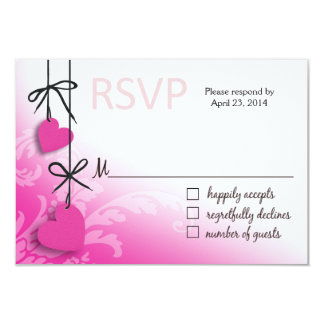 "Heartstrings RSVP 2 Response fuschia 3.5"" X 5"" Invitation Card"