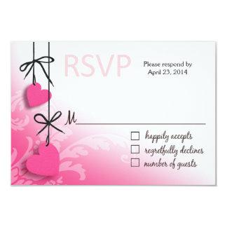 "Heartstrings RSVP 2 Response pink 3.5"" X 5"" Invitation Card"