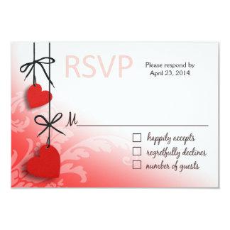 "Heartstrings RSVP 2 Response red 3.5"" X 5"" Invitation Card"