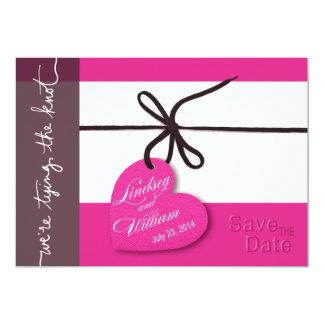 "Heartstrings Save the Date fuschia 5"" X 7"" Invitation Card"