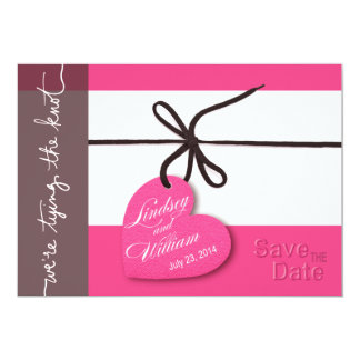 """Heartstrings Save the Date hot pink 5"""" X 7"""" Invitation Card"""
