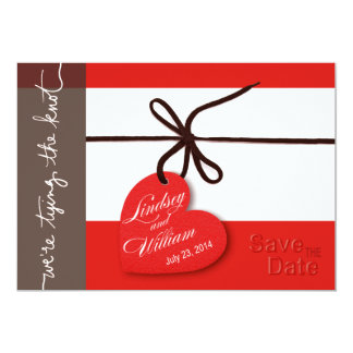"""Heartstrings Save the Date red 5"""" X 7"""" Invitation Card"""