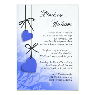 "Heartstrings Wedding cobalt 5"" X 7"" Invitation Card"