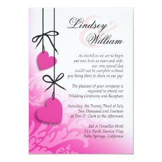 "Heartstrings Wedding fuschia 5"" X 7"" Invitation Card"