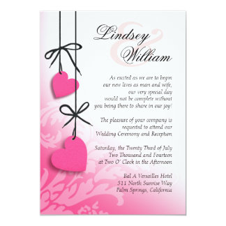 "Heartstrings Wedding hot pink 5"" X 7"" Invitation Card"