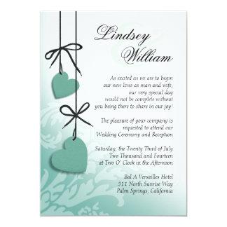 "Heartstrings Wedding mint 5"" X 7"" Invitation Card"