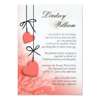 "Heartstrings Wedding peach 5"" X 7"" Invitation Card"