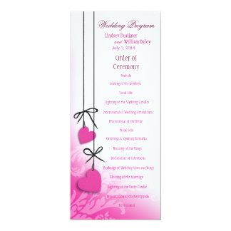 "Heartstrings Wedding Program fuschia 4"" X 9.25"" Invitation Card"