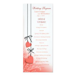 "Heartstrings Wedding Program peach 4"" X 9.25"" Invitation Card"