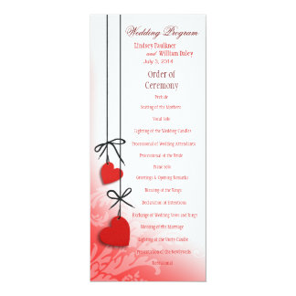 "Heartstrings Wedding Program red 4"" X 9.25"" Invitation Card"