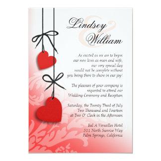 "Heartstrings Wedding red 5"" X 7"" Invitation Card"