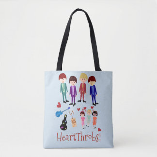 Heartthrobs Cute Retro Band Illustration Tote Bag