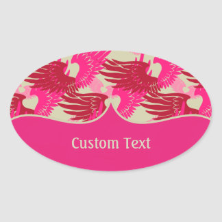 Heartwings Camouflage: Pink & Beige Oval Sticker