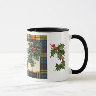 Hearty Christmas Greetings, Buchanan tartan Mug