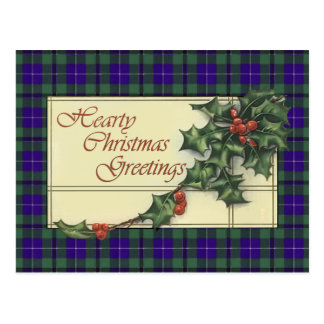 Hearty Christmas Greetings, Douglas tartan Postcard