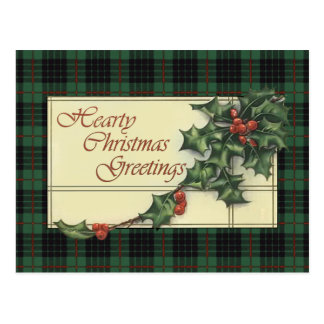 Hearty Christmas Greetings, Gunn Tartan Postcard