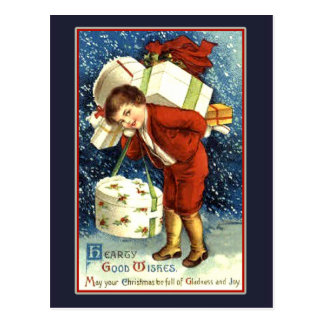 Hearty Good Wishes Vintage Christmas Card