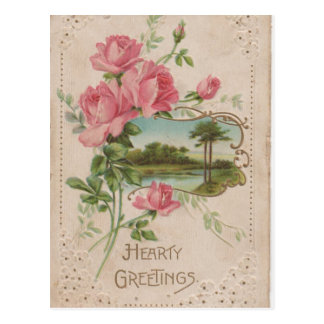 Hearty Greetings Vintage Historical Valentine Post Postcard