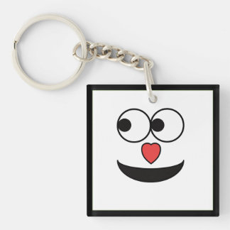 Hearty Nose Happy Face Double-Sided Square Acrylic Keychain